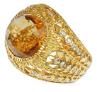 Unique Handcrafted Custom Beautiful Checkerboard cut GEM Grade Large Citrine And Diamond Filigree Ring in 18kt Yellow Gold - SOLD