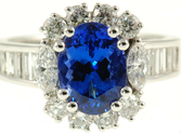 Gorgeous 3ct 9x7mm Lavendar Blue Tanzanite - Three Different Diamond Shapes - Amazing 18 kt Gold Ring