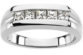 Dazzling 0.85 Carat Total Weight Platinum Gent's Diamond Ring - 5 Square Channel Set Diamond