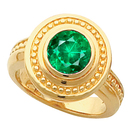 Hot Style! - Chic 14k Gold Bezel Set 1 carat 6mm Genuine Fine GEM Emerald Fashion Ring With Ornate Beaded Look