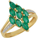 Classically Beautiful 14k Yellow Gold Emerald Ring With Inset Diamond Accents in Band - 9 Stunning 5x2.5mm Marquise Cut Emerald Gems - 1.38ct
