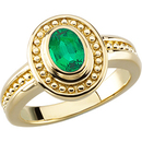 Unique Gold Ring set with GEM Grade Genuine .3mm Emerald in 5.00 x 3.00 mm Oval Cut for SALE