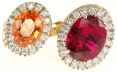 Most Unusual Red Tourmaline and Mandarin Garnet Ring in 2 tone 18kt gold  - SOLD