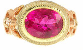 Custom made Pink Tourmaline and Diamond gemstone ring in 3 tone 18 kt gold - SOLD