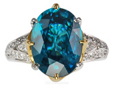 Amazing Teal Blue Zircon And Diamond Pave Gemstone Ring - 2 Tone 18 kt Gold - SOLD