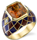 Rich 9 carat Golden Zircon Ring set in 18 kt Yellow Gold - Incredible Hand Crafted Ring - SOLD