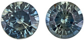 Rare Unheated Sapphires in Round Cut Pairs, Awesome Color of Rich Teal Green, 5.5 mm, 1.54 Carats