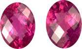 Incredible Matched Pair of Rubelite Tourmalines in Oval Checkerboard German Cut, Pinkish Fiery Red Color in 16.0 x 12.0 mm, 15.57 carats