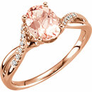 14KT Rose Gold Morganite & .08 Carat Total Weight Diamond Ring Size 7