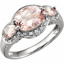 14KT White Gold Morganite & 1/10 Carat Total Weight Diamond Ring