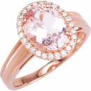 14KT Rose Gold Morganite & 1/6 Carat Total Weight Diamond Ring