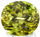 Rare Copper Manganese Bearing Green-Yellow Tourmaline Oval Cut, 24.00 x 21.68 mm, 43.40 carats with GIA Certificate