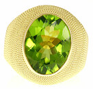 Custom 6.75ct 14.9x11.7mm Italian Bezel Set Peridot Gemstone Ring in 18kt Yellow Gold - Intricately Gold Crafted Band
