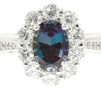 Beautiful Finest Quality Natural Vivid Color Change 1ct  7x5mm Alexandrite & .8cts Diamond Cluster Platinum Ring