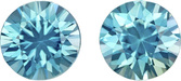 Fiery Teal Blue Zircons in Well Matched Pair in Round Cut, 6.9 mm, 3.48 Carats