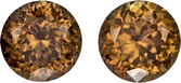 Chocolate Brown Zircon from Ceylon Well Matched Pair in Round Cut, 7.5 mm, 4.91 Carats