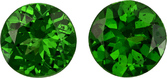Fiery Green Tsavorite Well Matched Pair in Round Cut, 5 mm, 1.1 Carats
