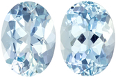 Strong Blue Aquamarine from Brazil in Well Matched Pair in Oval Cut, 8 x 6 mm, 2.17 Carats