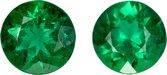Fiery Emeralds from Brazil in Well Matched Pair in Round Cut, 4.4 mm, 0.56 Carats