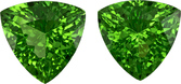 Fiery Green Tsavorite from Tanzania in Well Matched Pair in Trillion Cut, 6 mm, 1.53 Carats