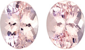 Light Pinky Peach Morganite from Madagascar Well Matched Pair in Oval Cut, 10 x 8 mm, 5.38 Carats