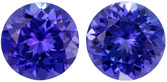 Strong Purple Blue Tanzanites in Well Matched Pair in Round Cut, 7 mm, 2.85 Carats