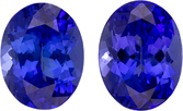 Purple Blue Tanzanites in Well Matched Pair in Oval Cut, 9 x 7 mm, 4.52 Carats