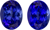 Fiery Purple Blue Tanzanites in Well Matched Pair in Oval Cut, 9.1 x 7.1 mm, 4.59 Carats