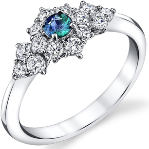 Lovely Diamond Accented 14kt White Gold 0.17ct Round Alexandrite Gemstone Ring for SALE
