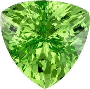 Neony Lime Green Garnet Loose Fiery Gem in Trillion Cut, Neony Lime Green, 6.5 mm, 1.1 carats