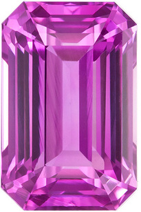 Beautiful Emerald cut Pink Sapphire Loose Stone in Desirable Rich Pure Pink Color in 8.2 x 5.3 mm, 2.27 carats