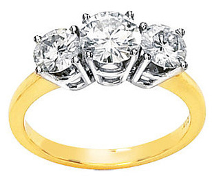 Special Price on Amazing 1.75ct 2-Tone 14k White & Yellow Gold 3-Stone Round 5-6mm Moissanite Engagement Ring for SALE