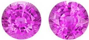 Super Lively Sapphire Well Matched Pair in Round Cut, Intense Rich Pink, 6.2 mm, 2.35 carats