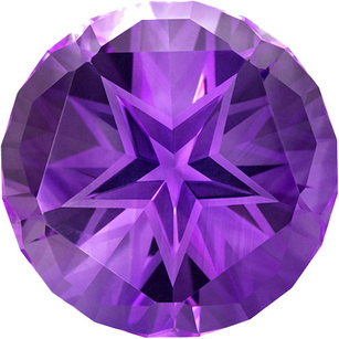 Unique Amethyst Gem with Star Cut, Rich Medium Purple Color Loose Gemstone in Huge 20.8 mm, 28.51 Carats