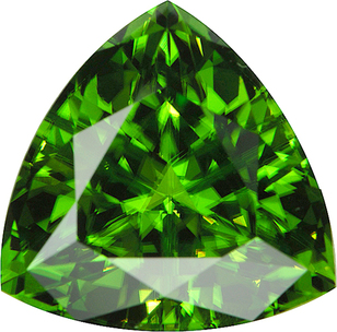 Special Price on Beautiful Trillion Cut Rich Green Peridot, 17mm, 19.52 carats