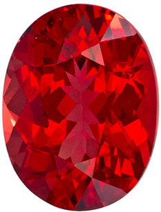 Fire Red Spinel Loose Gemstone in Oval Cut, Fire Engine Red Color in 6.6 x 4.9 mm, 0.85 carats