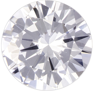 Colorless White Sapphire Genuine Ceylon Gem in Round Cut, 6.8 mm, 1.26 Carats