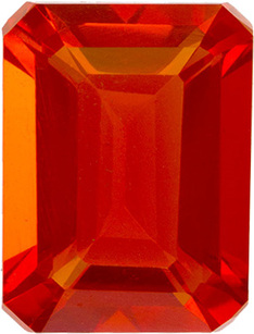 Rich Vibrant Orange Mexican Fire Opal Loose Gem in Emerald Cut, 8.3 x 6.3 mm, 1.42 Carats