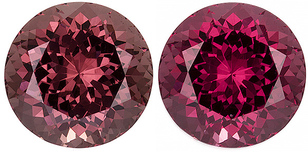 Color Shift Garnet Loose Gem in Round Cut, Brownish Berry Pink to Pure Raspberry Pink, 9.5 mm, 4.61 carats
