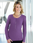 Ladies Cotton Cable Long Sleeve Henley Sweater