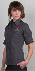 Women's Roll-Up Waitress Shirt with Pleated Pockets