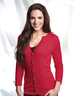 Ladies Modern Three Quarter Sleeve Cardigan Sweater