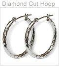 14K White Gold Diamond Cut Hoop Earrings