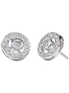 18K White Circle Pavee Diamond Studs (1.18 ct. tw.)