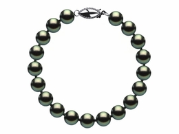 7.5 x 8mm Black Green Freshwater Pearl Bracelet