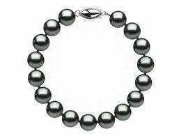 8.5 x 9mm Black Light Green Freshwater Pearl Bracelet