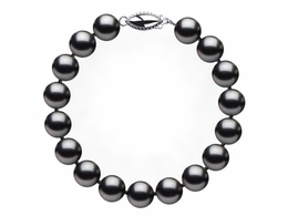8.5 x 9mm Dark Black Freshwater Pearl Bracelet