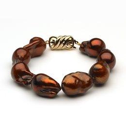 13 x 14mm Freshwater Pearl Bracelet Mocha Baroque