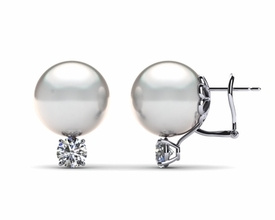 12mm White South Sea Pearl Earring & .80 carat tw Diamond