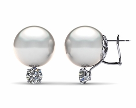 15mm White South Sea Pearl Earring & 1.5 carat tw Diamond